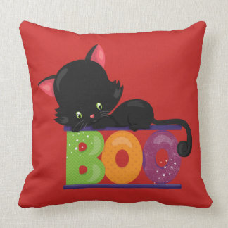 Black Cat Boo Throw Pillow