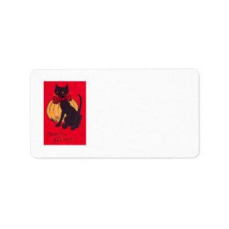 Black Cat Bowtie Pumpkin Vintage Address Label