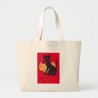Black Cat Bowtie Pumpkin Vintage Jumbo Tote Bag