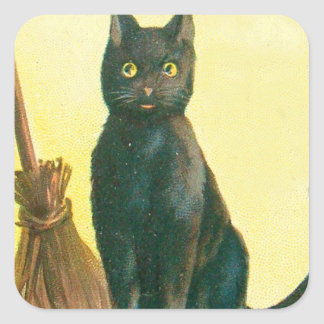 Black Cat Broom Square Sticker