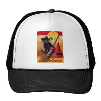 Black Cat Broom Witch's Hat Full Moon