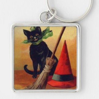 Black Cat Broom Witch's Hat Full Moon Silver-Colored Square Key Ring