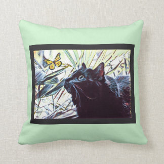 Black Cat & Butterfly (on mint background) Cushion
