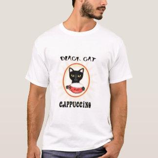 Black Cat Cappuccino Art Design T-Shirt