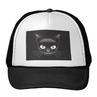 Black Cat Cartoon Face Cap