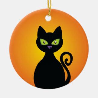 Black Cat Ceramic Ornament