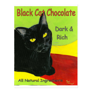 Black Cat Chocolate, Dark and Rich Postcard