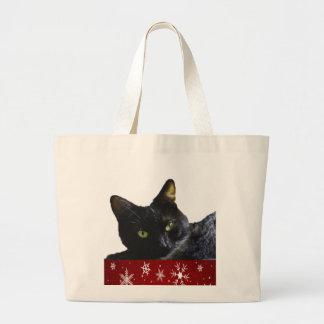 Black Cat Christmas Jumbo Tote Bag