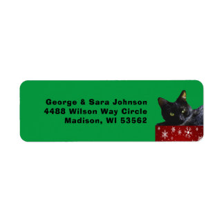 Black Cat Christmas on Snowflakes Address Label