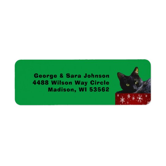 Black Cat Christmas on Snowflakes Address Label