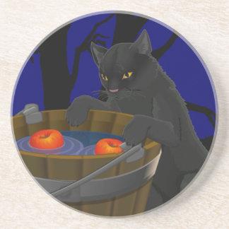 Black Cat Coaster Fun Halloween Cat Decor