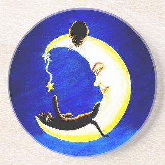 Black, cat,crescent,moon, sandstone coaster