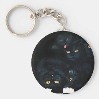 Black Cat Cuddle Basic Round Button Key Ring