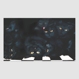 Black Cat Cuddle Rectangular Sticker