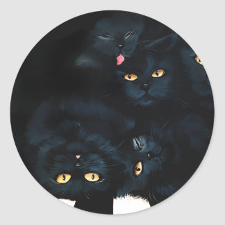 Black Cat Cuddle Round Sticker