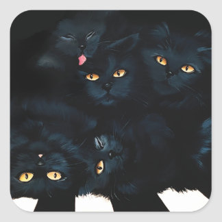 Black Cat Cuddle Square Sticker