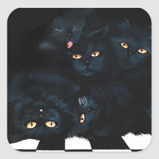 Black Cat Cuddle Square Sticker