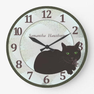 Black Cat Custom Large Round Wall Clock