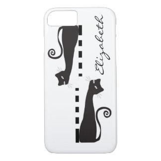 Black Cat Custom Monogram iPhone 7 Case