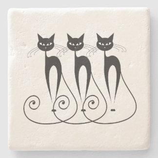 Black cat cute funny triplet stone beverage coaster