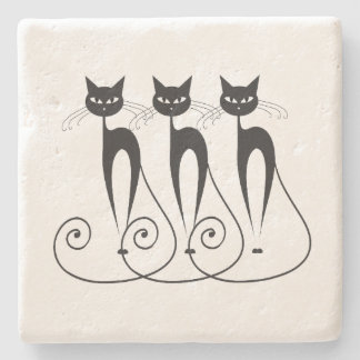 Black cat cute funny triplet stone coaster