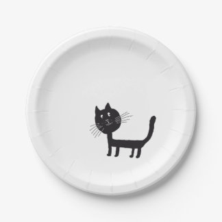Black Cat Drawing Paper Plates