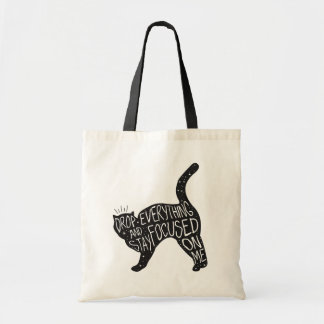 Black Cat Drop Everything Monochrome Tote Bag