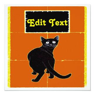 Black Cat, edit text  cards 13 Cm X 13 Cm Square Invitation Card