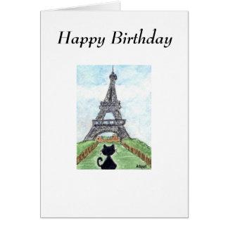 BLACK CAT EIFFEL TOWER BIRTHDAY CARD