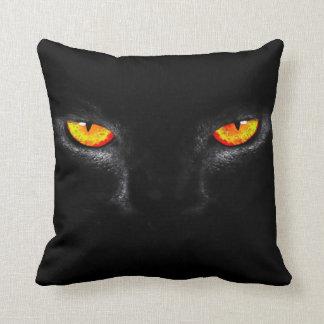 Black Cat Eyes Watercolor Art Plush Throw Pillow