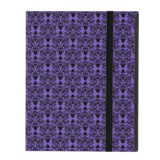 Black Cat Face Damask Pattern iPad Case