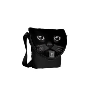 Black Cat Face Eyes Messenger Bag