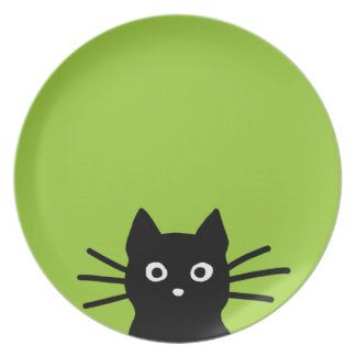 Black Cat Face on Green (Color is Customizable) Plate