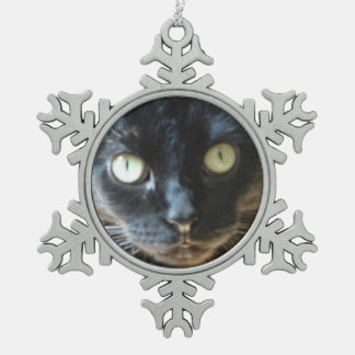 Black Cat Face Snowflake Pewter Christmas Ornament