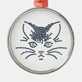 Black Cat Face Silver-Colored Round Decoration