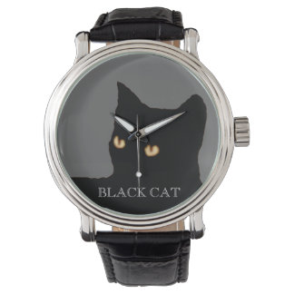 black cat face watch
