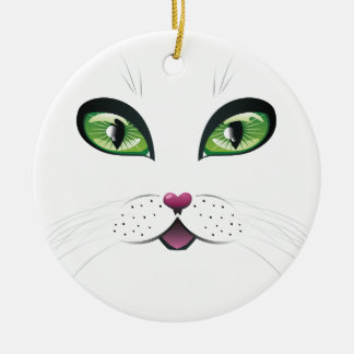 Black Cat Face with Green Eyes Round Ceramic Decoration