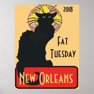 Black Cat, Fat Tuesday, edit text Poster