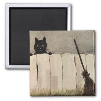 Black Cat Fence Witch s Broom Fridge Magnets