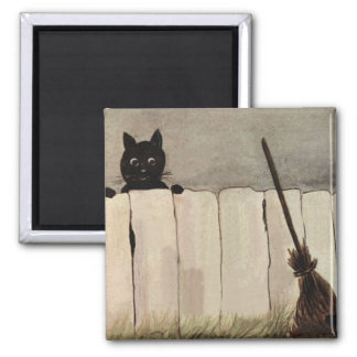 Black Cat Fence Witch s Broom Fridge Magnets