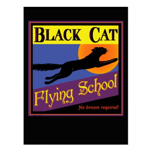 Black Cat Flying School Halloween Greeting Card Postcard
