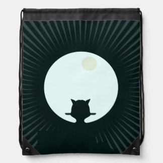 Black Cat Full Moon Drawstring Bag
