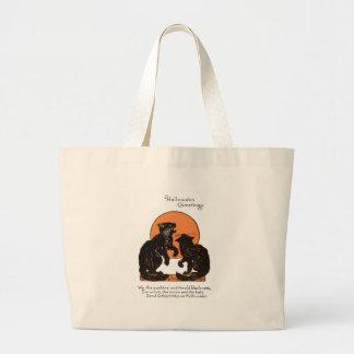 Black Cat Full Moon Orange Black Jumbo Tote Bag