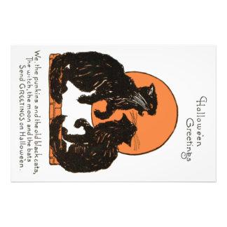 Black Cat Full Moon Orange Black Art Photo