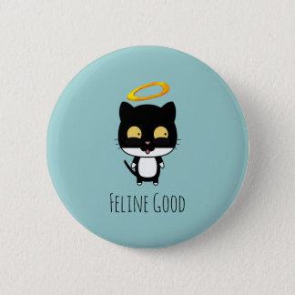 Black Cat Funny Pun With Halo - Feline Good 6 Cm Round Badge