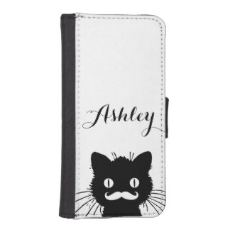 Black Cat Funny White Mustache Personalized iPhone SE/5/5s Wallet Case
