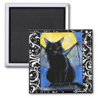Black cat gargoyle Halloween kitten magnet