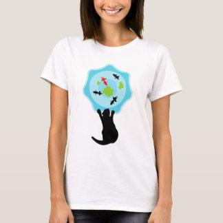 Black cat & Gold fish T-Shirt