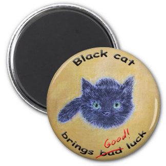 Black cat good luck 6 cm round magnet