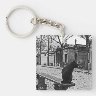 Black Cat Gothic Cemetery keychain